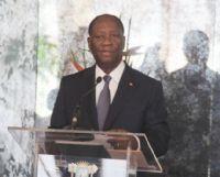 Ouattara lors de son discours devant la représentante des droits de l'Homme